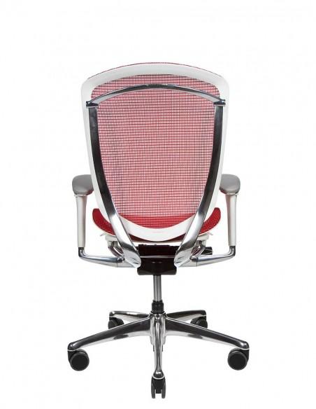 Кресло OKAMURA CONTESSA II SECONDA, с сетчатым сиденьем, белый корпус, красный цвет