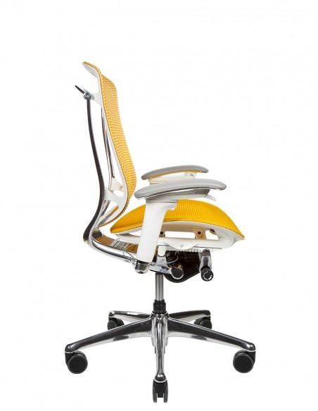 Кресло OKAMURA CONTESSA II SECONDA, с сетчатым сиденьем, белый корпус, желтая сетка