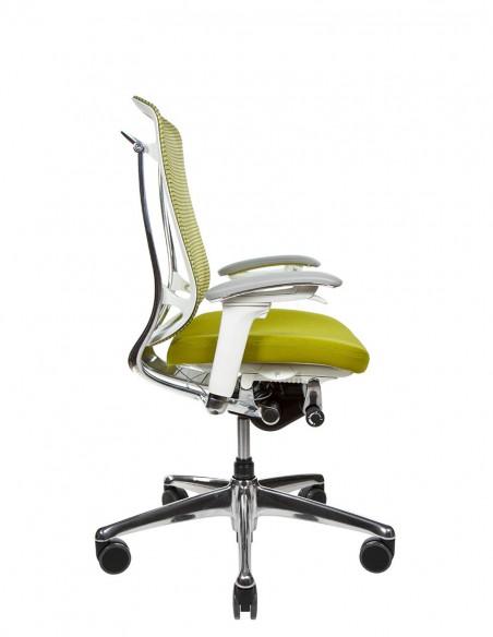Кресло OKAMURA CONTESSA II SECONDA, с тканевым сиденьем, белый корпус, зеленый цвет
