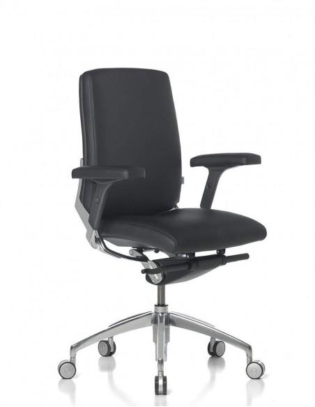 Кресло SITIA BLACK OR WHITE LOW BACK, кожаное, с низкой спинкой