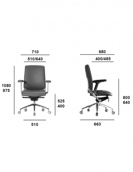 Кресло SITIA BLACK OR WHITE LOW BACK, кожаное, с низкой спинкой, размеры