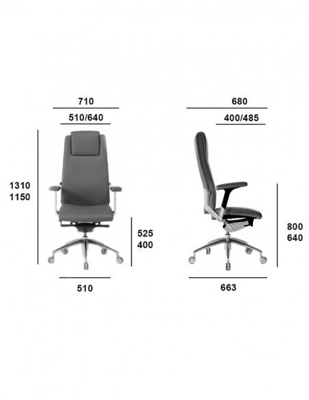 Кресло SITIA BLACK OR WHITE HIGH BACK для руководителя, тканевое, размеры