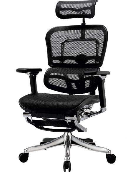 Кресло компьютерное ERGOHUMAN PLUS c подставкой для ног, эргономичное, черного цвета