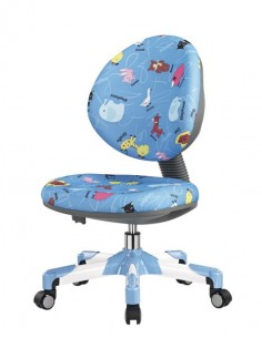 Кресло  Mealux Y-120 BN металл белый / обивка голубая со зверятами