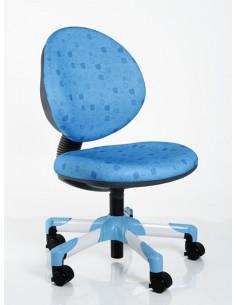 Кресло Mealux Y-120 BS металл белый / обивка голубая в квадратики
