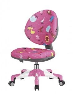 Кресло Mealux Y-120 PN металл белый / обивка розовая со зверятами