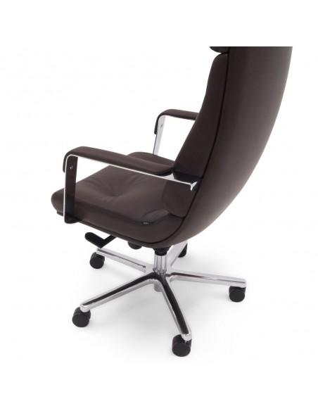 Кресло F133 BRL для руководителя, коричневое, кожаное