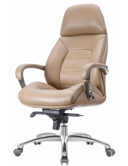 Кресло F181 BIEL для руководителя, бежевое, кожаное
